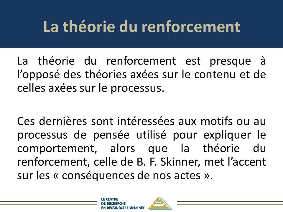 La théorie du renforcement La théorie du renforcement est presque à lopposé des théories axées sur le contenu et de celles axées sur le processus.