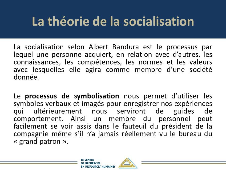 La théorie de la socialisation La socialisation selon Albert Bandura est le processus par lequel une personne acquiert, en relation avec dautres, les connaissances, les compétences, les normes et les valeurs avec lesquelles elle agira comme membre dune société donnée.