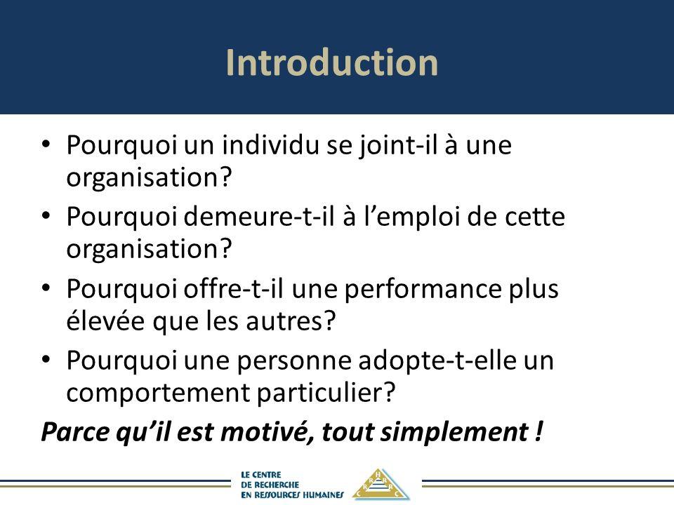 Introduction Pourquoi un individu se joint-il à une organisation.