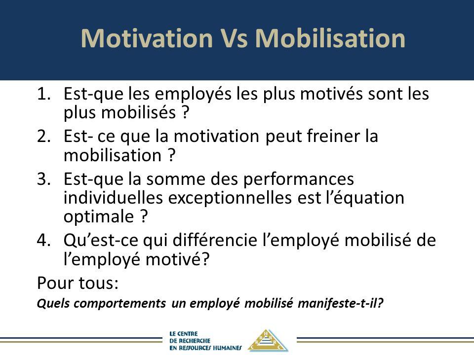 Motivation Vs Mobilisation 1.Est-que les employés les plus motivés sont les plus mobilisés .