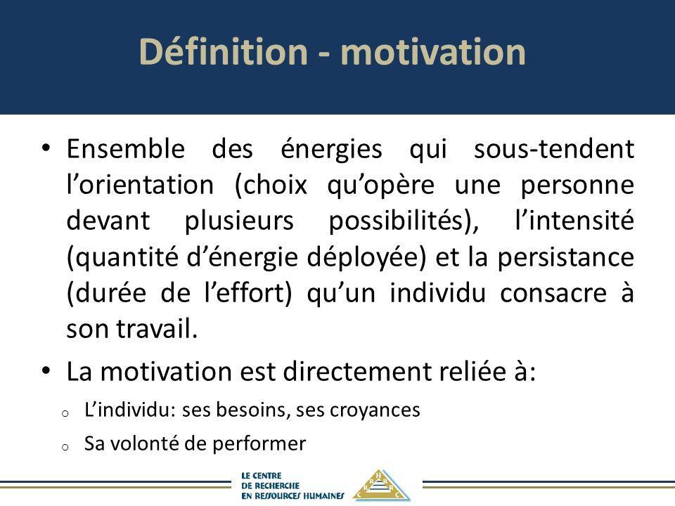 Définition - motivation Ensemble des énergies qui sous-tendent lorientation (choix quopère une personne devant plusieurs possibilités), lintensité (quantité dénergie déployée) et la persistance (durée de leffort) quun individu consacre à son travail.