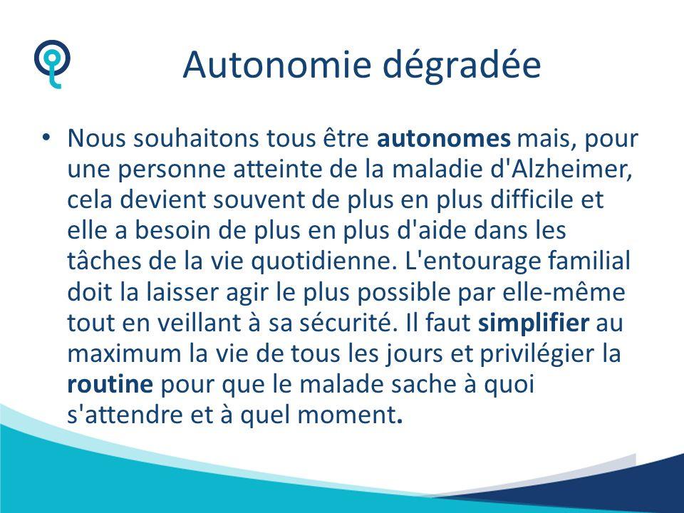 Certaines particularités dans la maladie dAlzheimer Maladie évolutive obligatoirement Autonomie dégradée Anticipation des accidents Structures spécial
