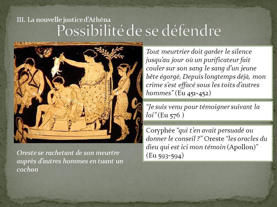III. La nouvelle justice dAthéna Oreste se rachetant de son meurtre auprès dautres hommes en tuant un cochon Tout meurtrier doit garder le silence jus