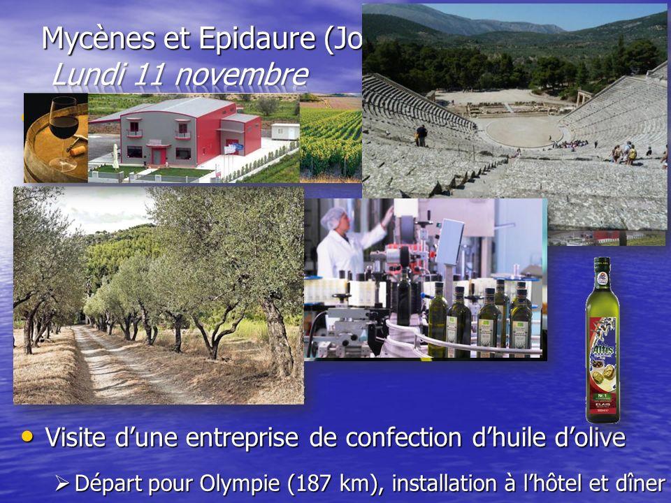Route vers Mycènes Route vers Mycènes –Visite de la cité (site archéologique et musée) Visite de la coopérative viticole Biraktari Visite de la coopér
