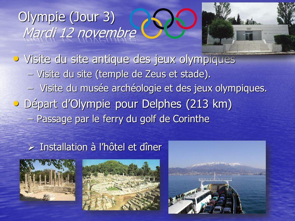 Visite du site antique des jeux olympiques Visite du site antique des jeux olympiques –Visite du site (temple de Zeus et stade). – Visite du musée arc