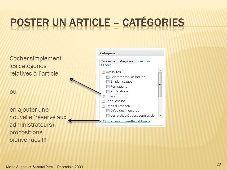 Maria Sugero et Samuel Piret – Décembre 2009 Cocher simplement les catégories relatives à larticle ou en ajouter une nouvelle (réservé aux administrat