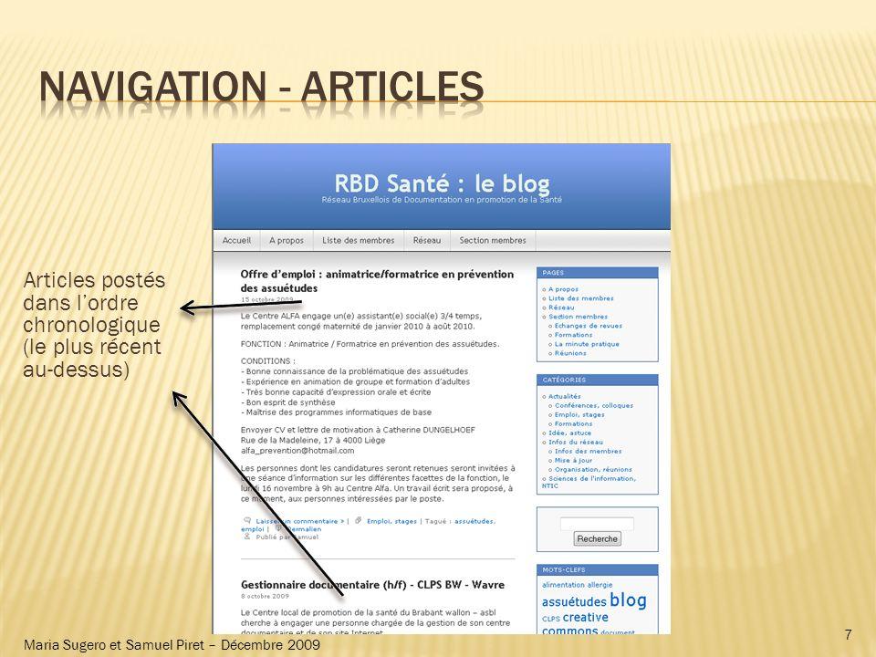 Maria Sugero et Samuel Piret – Décembre 2009 Articles postés dans lordre chronologique (le plus récent au-dessus) 7