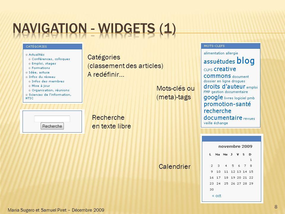 Maria Sugero et Samuel Piret – Décembre 2009 Catégories (classement des articles) A redéfinir… Recherche en texte libre Mots-clés ou (meta)-tags Calen