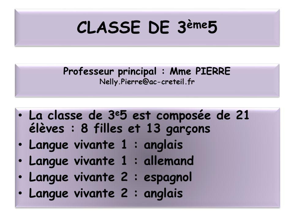 CLASSE DE 3 ème 5 La classe de 3 e 5 est composée de 21 élèves : 8 filles et 13 garçons Langue vivante 1 : anglais Langue vivante 1 : allemand Langue