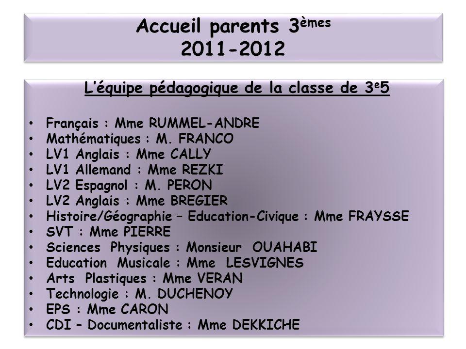 Accueil parents 3 èmes 2011-2012 Léquipe pédagogique de la classe de 3 e 5 Français : Mme RUMMEL-ANDRE Mathématiques : M.