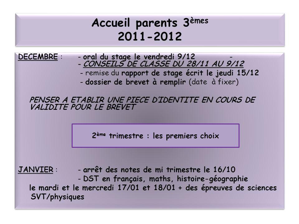 Accueil parents 3 èmes 2011-2012 - DECEMBRE : - oral du stage le vendredi 9/12 - - CONSEILS DE CLASSE DU 28/11 AU 9/12 - remise du rapport de stage éc