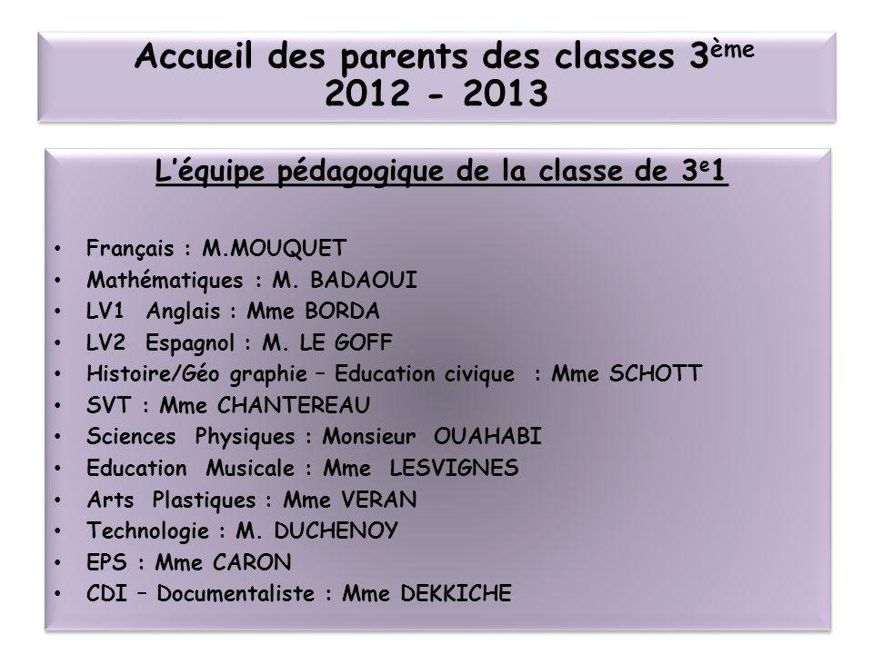 Léquipe pédagogique de la classe de 3 e 1 Français : M.MOUQUET Mathématiques : M. BADAOUI LV1 Anglais : Mme BORDA LV2 Espagnol : M. LE GOFF Histoire/G