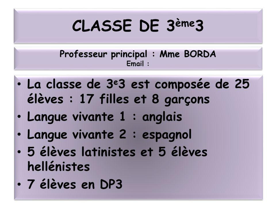 CLASSE DE 3 ème 3 La classe de 3 e 3 est composée de 25 élèves : 17 filles et 8 garçons Langue vivante 1 : anglais Langue vivante 2 : espagnol 5 élève