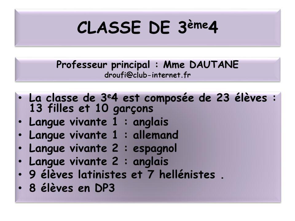 CLASSE DE 3 ème 4 La classe de 3 e 4 est composée de 23 élèves : 13 filles et 10 garçons Langue vivante 1 : anglais Langue vivante 1 : allemand Langue vivante 2 : espagnol Langue vivante 2 : anglais 9 élèves latinistes et 7 hellénistes.