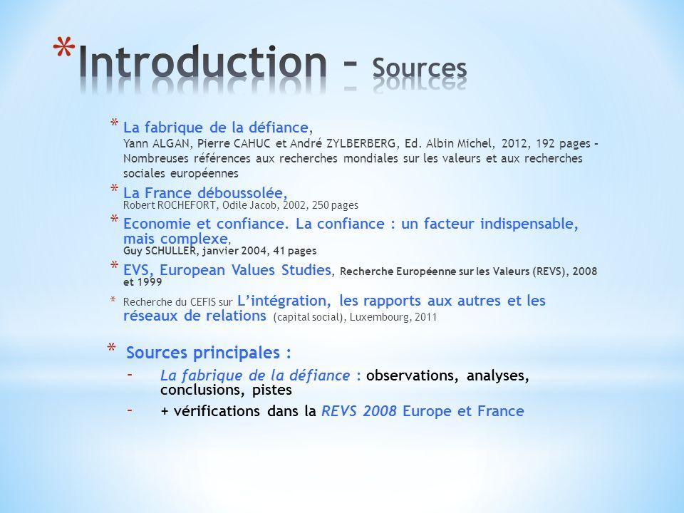 * La fabrique de la défiance, Yann ALGAN, Pierre CAHUC et André ZYLBERBERG, Ed.