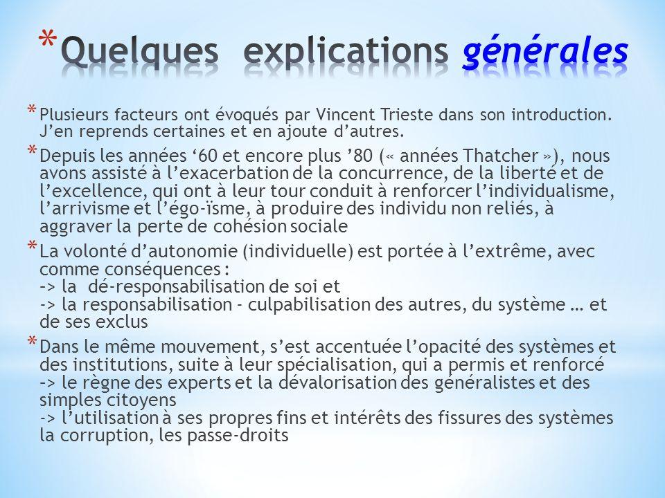 * Plusieurs facteurs ont évoqués par Vincent Trieste dans son introduction.