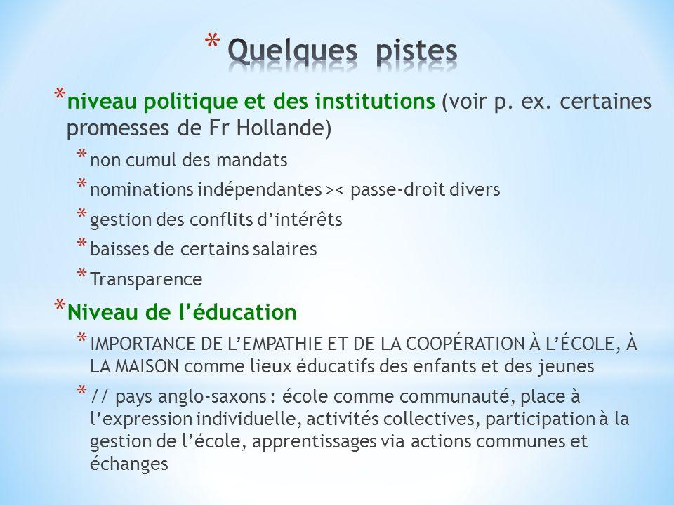 * niveau politique et des institutions (voir p. ex.