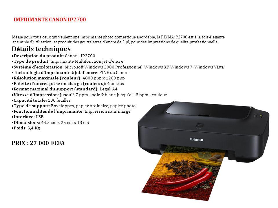 IMPRIMANTE CANON IP2700 Id é ale pour tous ceux qui veulent une imprimante photo domestique abordable, la PIXMA iP2700 est à la fois é l é gante et si