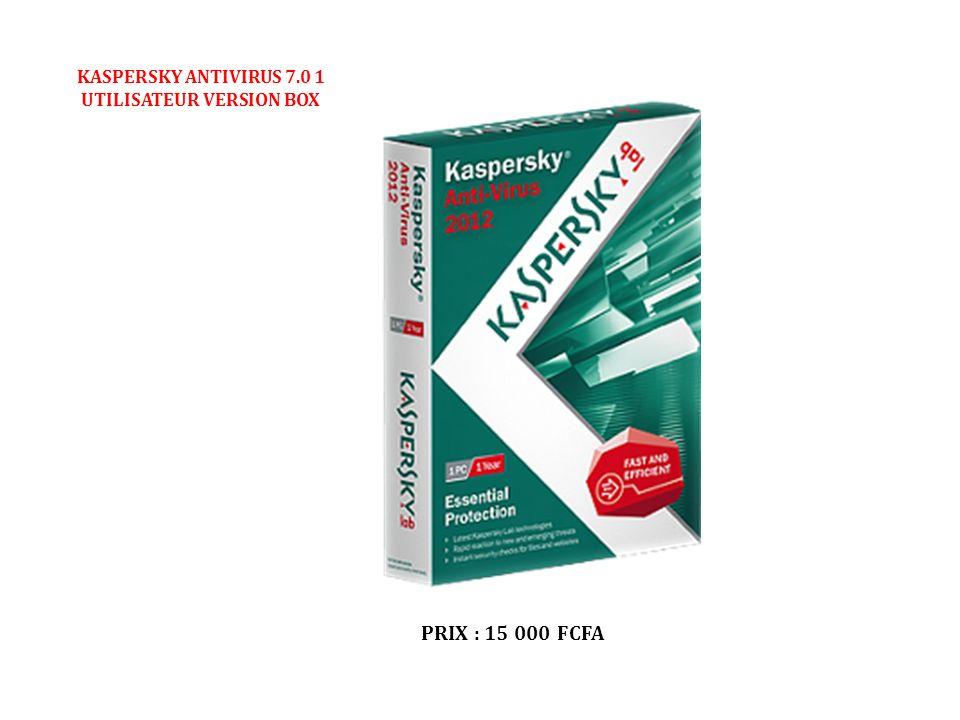 KASPERSKY ANTIVIRUS 7.0 1 UTILISATEUR VERSION BOX PRIX : 15 000 FCFA