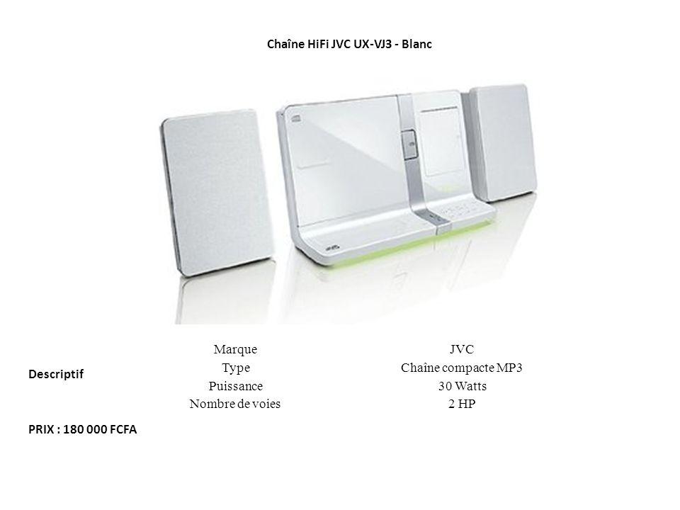 MarqueJVC TypeChaîne compacte MP3 Puissance30 Watts Nombre de voies2 HP Chaîne HiFi JVC UX-VJ3 - Blanc Descriptif PRIX : 180 000 FCFA