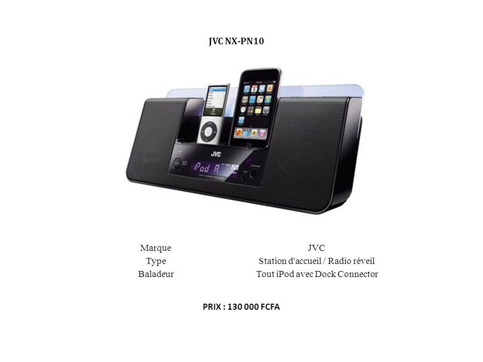 MarqueJVC TypeStation d'accueil / Radio réveil BaladeurTout iPod avec Dock Connector JVC NX-PN10 PRIX : 130 000 FCFA