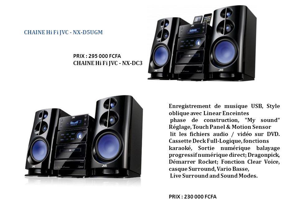 CHAINE Hi Fi JVC - NX-D5UGM PRIX : 295 000 FCFA CHAINE Hi Fi JVC - NX-DC3 Enregistrement de musique USB, Style oblique avec Linear Enceintes phase de