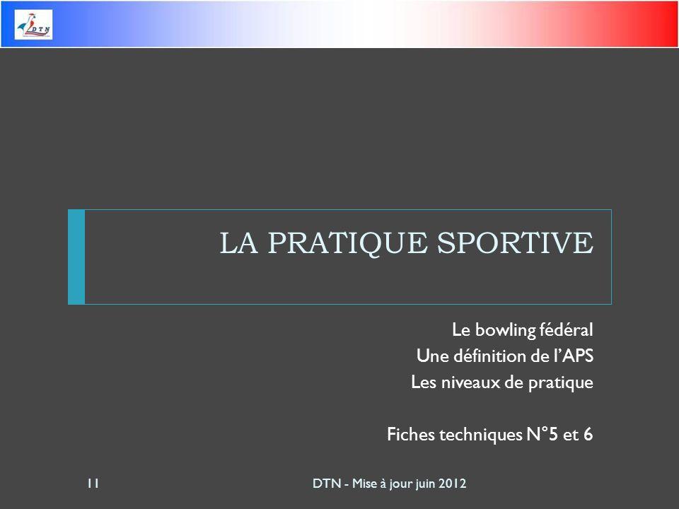 LA PRATIQUE SPORTIVE Le bowling fédéral Une définition de lAPS Les niveaux de pratique Fiches techniques N°5 et 6 DTN - Mise à jour juin 201211