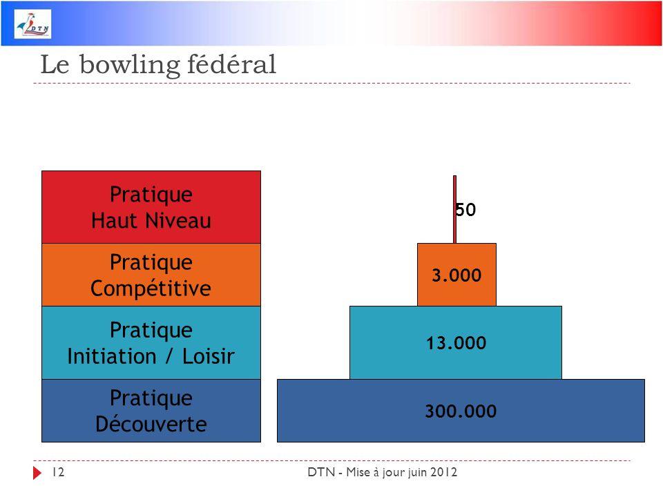 Le bowling fédéral DTN - Mise à jour juin 201212 Pratique Haut Niveau Pratique Compétitive Pratique Initiation / Loisir Pratique Découverte 300.000 13