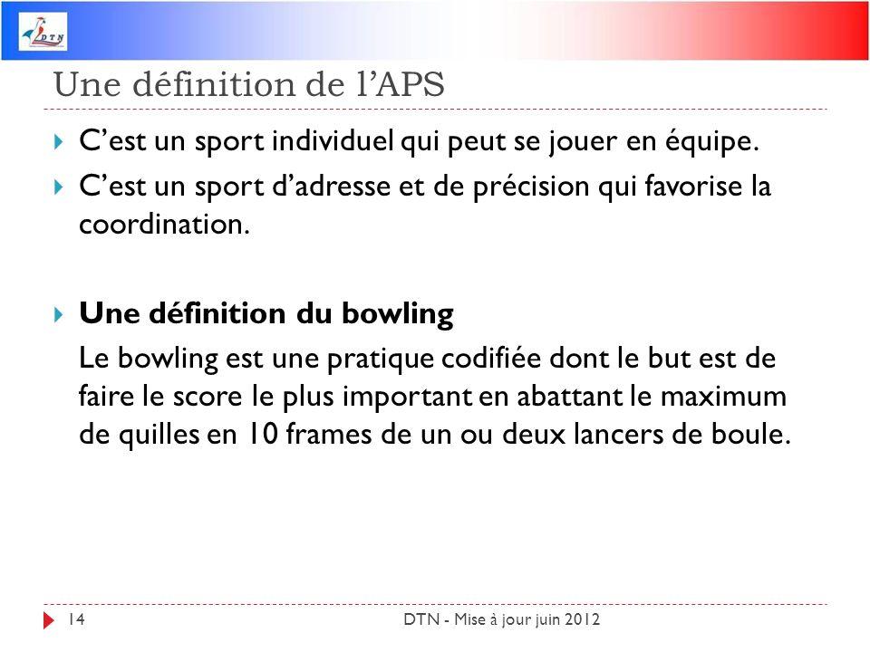 Une définition de lAPS DTN - Mise à jour juin 201214 Cest un sport individuel qui peut se jouer en équipe. Cest un sport dadresse et de précision qui