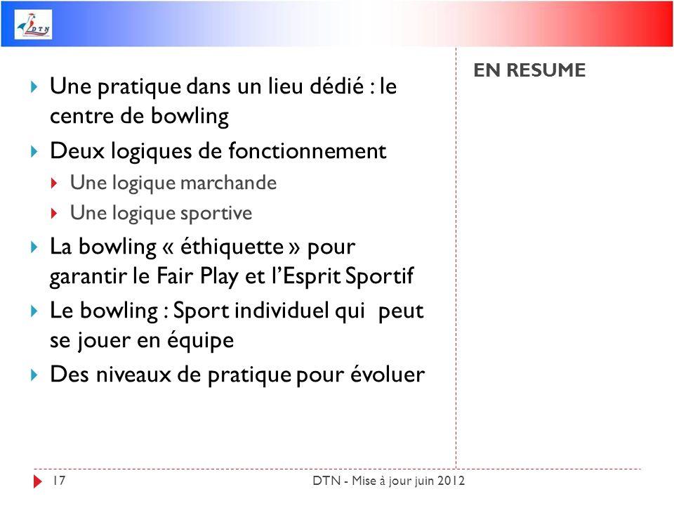 EN RESUME DTN - Mise à jour juin 201217 Une pratique dans un lieu dédié : le centre de bowling Deux logiques de fonctionnement Une logique marchande U