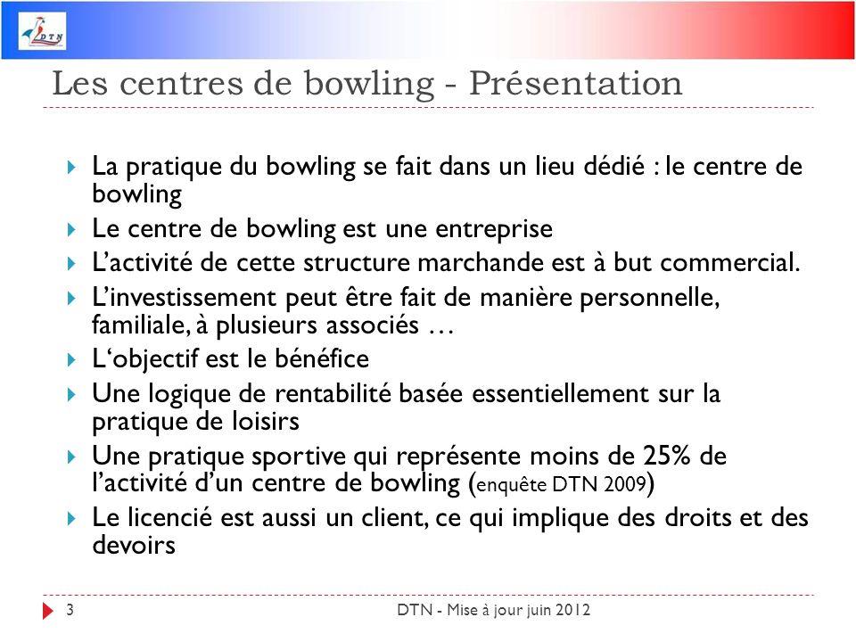 Les centres de bowling - Présentation DTN - Mise à jour juin 20123 La pratique du bowling se fait dans un lieu dédié : le centre de bowling Le centre