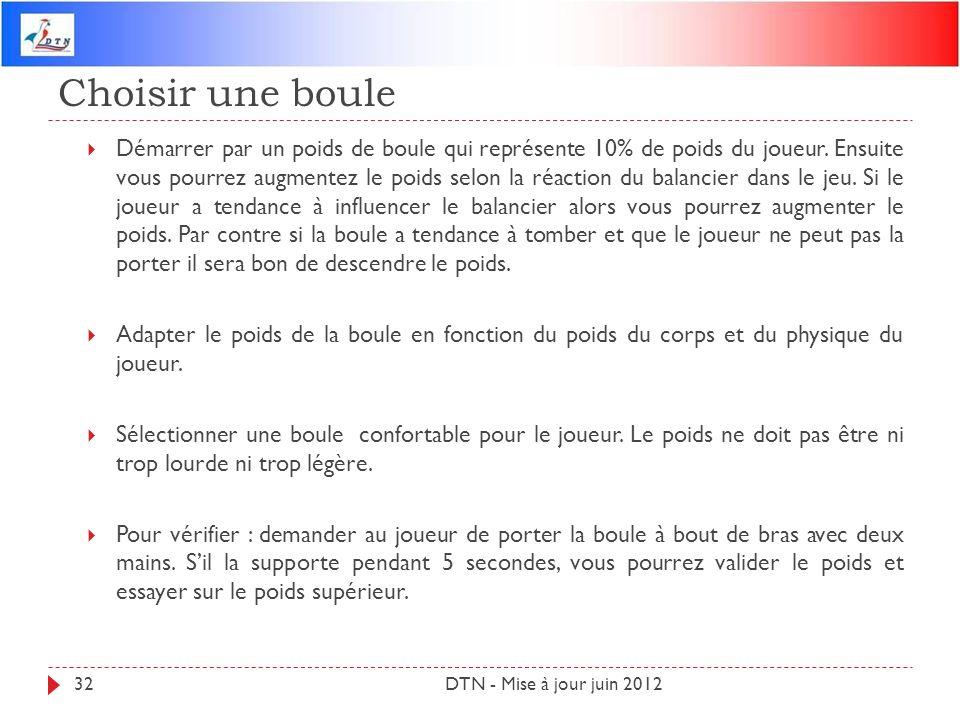 Choisir une boule DTN - Mise à jour juin 201232 Démarrer par un poids de boule qui représente 10% de poids du joueur. Ensuite vous pourrez augmentez l