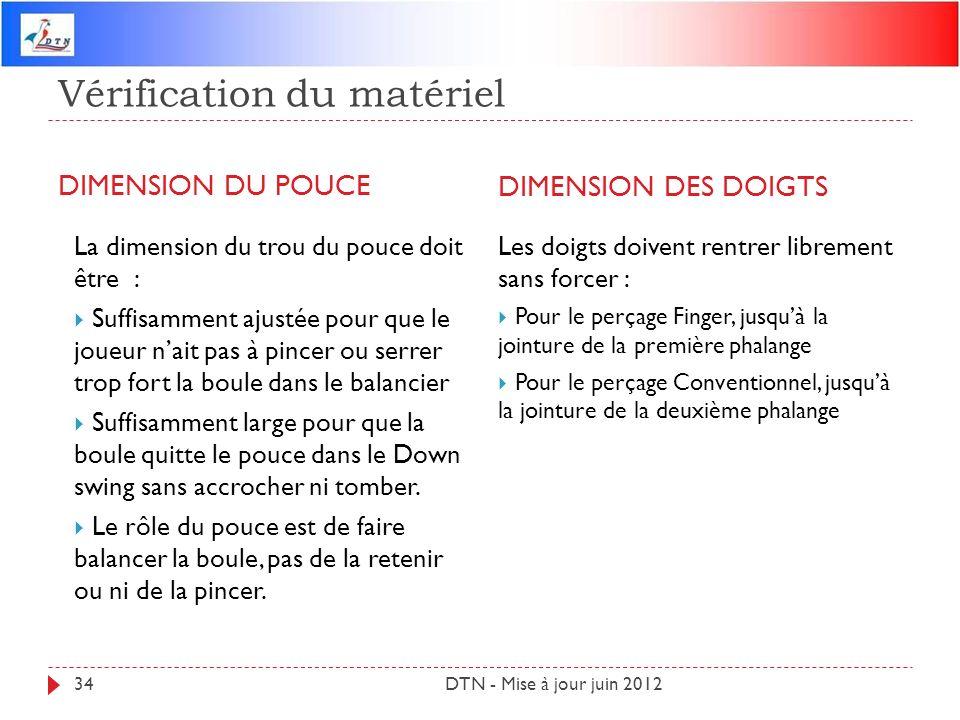 Vérification du matériel DIMENSION DU POUCE DIMENSION DES DOIGTS DTN - Mise à jour juin 201234 La dimension du trou du pouce doit être : Suffisamment