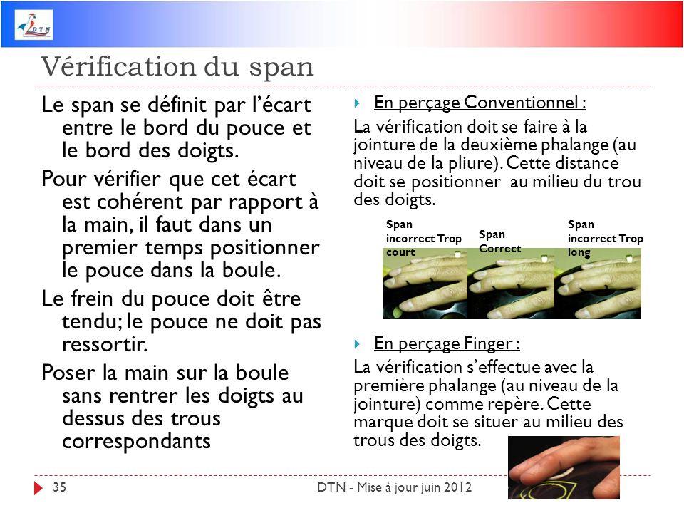 Vérification du span DTN - Mise à jour juin 201235 Le span se définit par lécart entre le bord du pouce et le bord des doigts. Pour vérifier que cet é
