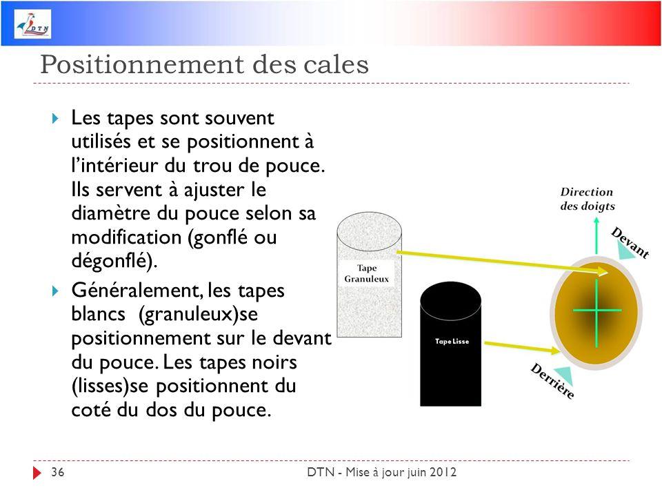 Positionnement des cales DTN - Mise à jour juin 201236 Les tapes sont souvent utilisés et se positionnent à lintérieur du trou de pouce. Ils servent à