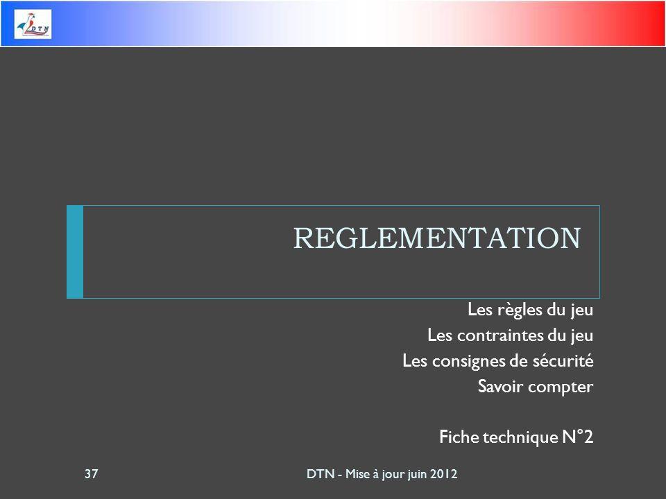 REGLEMENTATION Les règles du jeu Les contraintes du jeu Les consignes de sécurité Savoir compter Fiche technique N°2 DTN - Mise à jour juin 201237