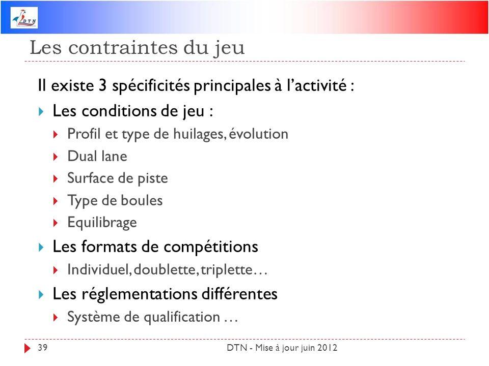Les contraintes du jeu DTN - Mise à jour juin 201239 Il existe 3 spécificités principales à lactivité : Les conditions de jeu : Profil et type de huil