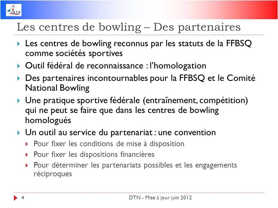 Les centres de bowling – Des partenaires DTN - Mise à jour juin 20124 Les centres de bowling reconnus par les statuts de la FFBSQ comme sociétés sport