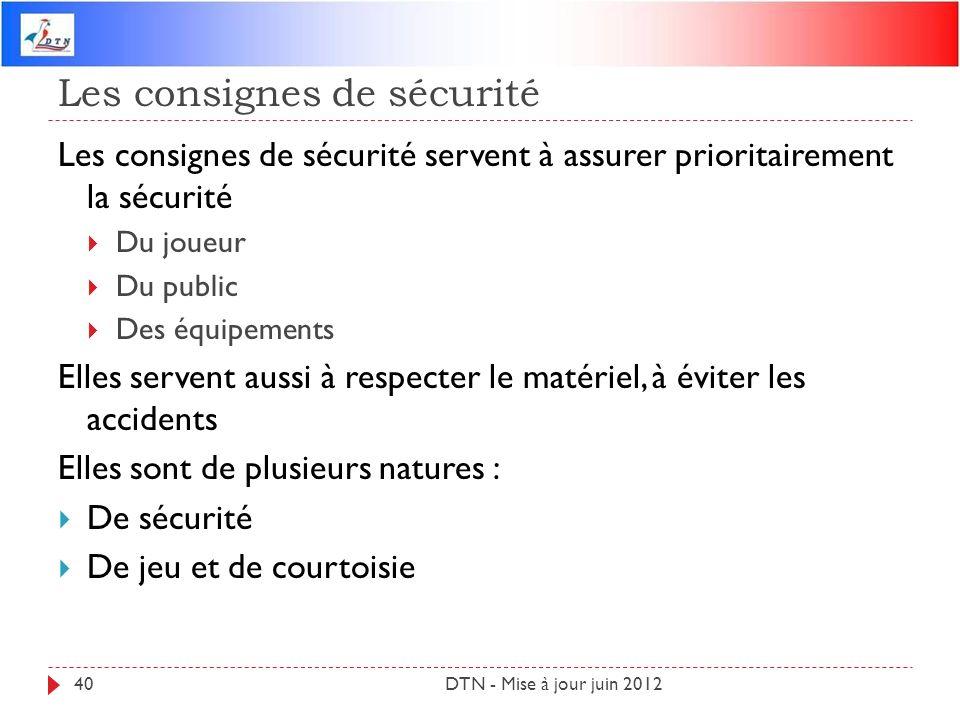 Les consignes de sécurité DTN - Mise à jour juin 201240 Les consignes de sécurité servent à assurer prioritairement la sécurité Du joueur Du public De
