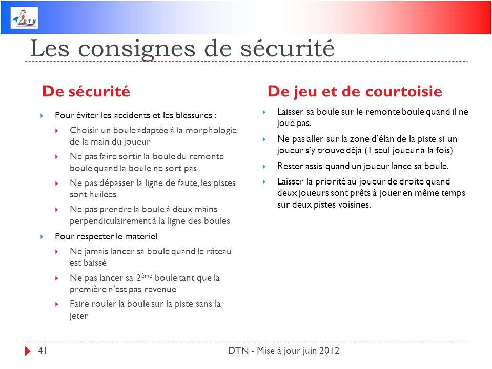 Les consignes de sécurité De sécuritéDe jeu et de courtoisie DTN - Mise à jour juin 201241 Pour éviter les accidents et les blessures : Choisir un bou