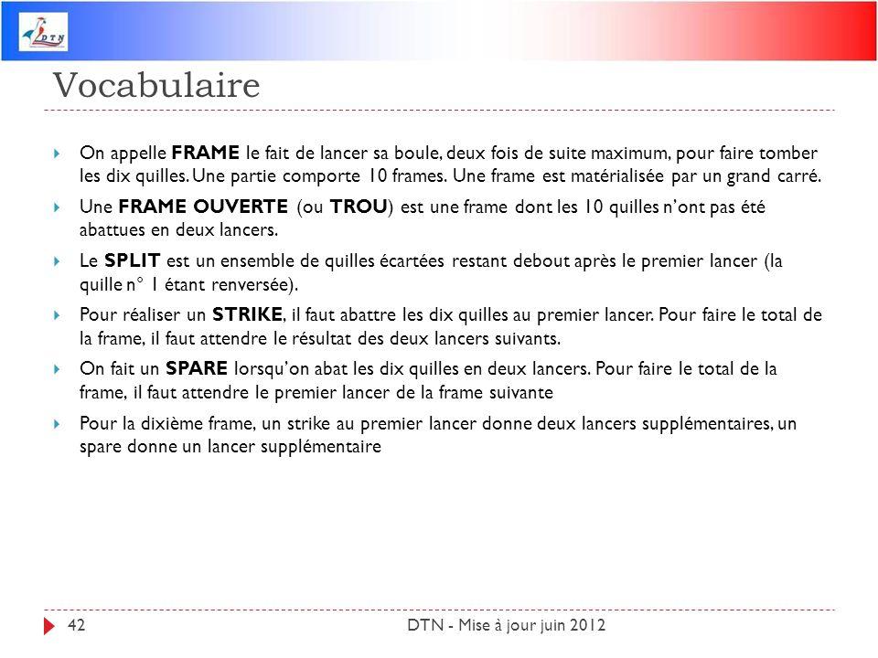 Vocabulaire DTN - Mise à jour juin 201242 On appelle FRAME le fait de lancer sa boule, deux fois de suite maximum, pour faire tomber les dix quilles.