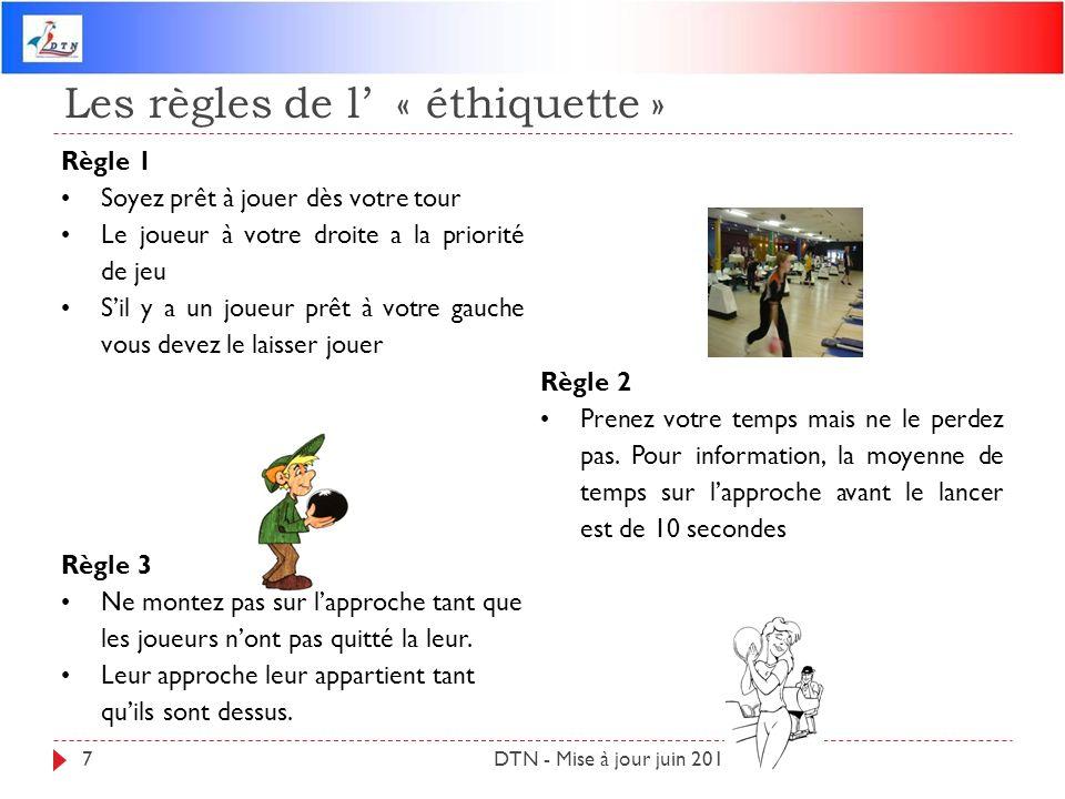 Les règles de l « éthiquette » DTN - Mise à jour juin 20127 Règle 1 Soyez prêt à jouer dès votre tour Le joueur à votre droite a la priorité de jeu Si