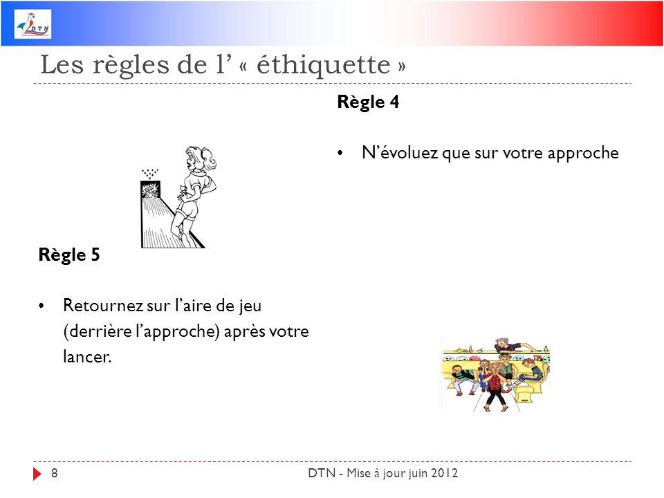 Les règles de l « éthiquette » DTN - Mise à jour juin 20128 Règle 4 Névoluez que sur votre approche Règle 5 Retournez sur laire de jeu (derrière lappr