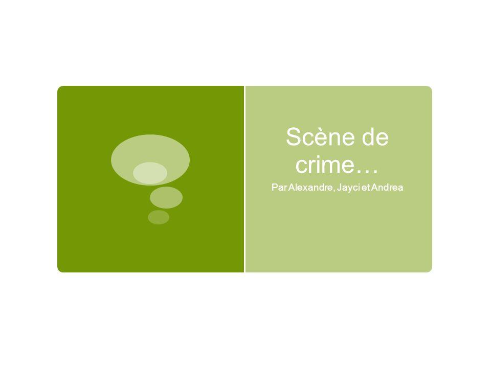 Scène de crime… Par Alexandre, Jayci et Andrea