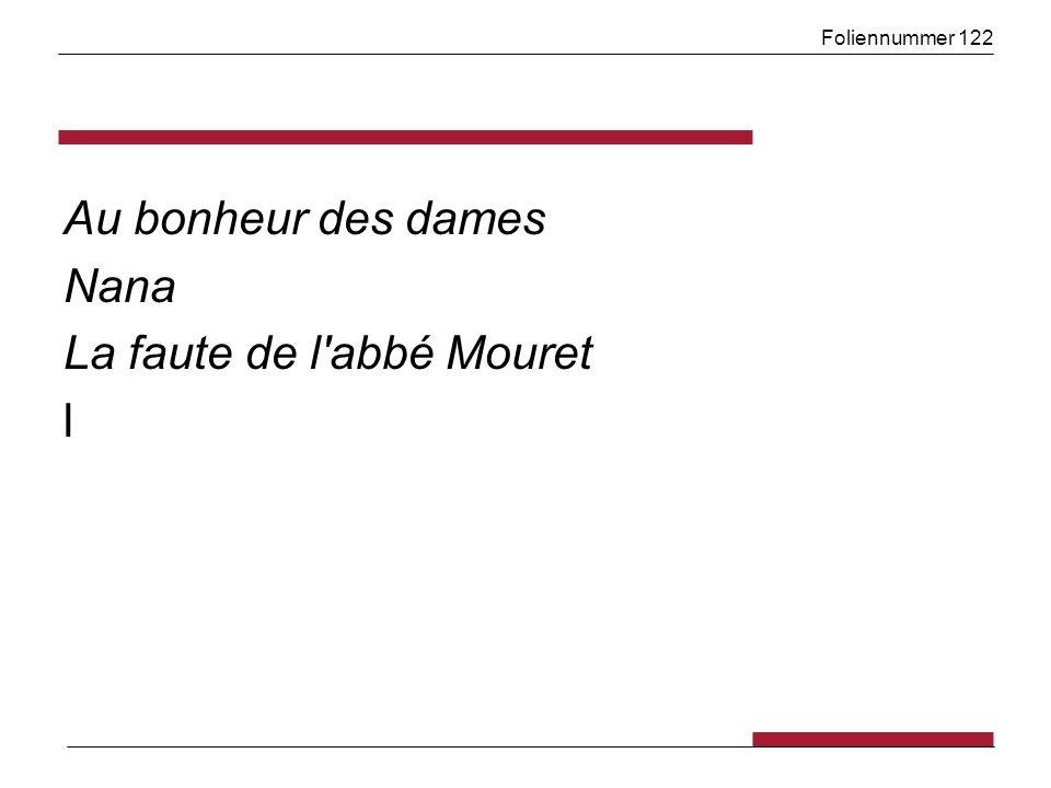 Foliennummer 122 Au bonheur des dames Nana La faute de l'abbé Mouret l