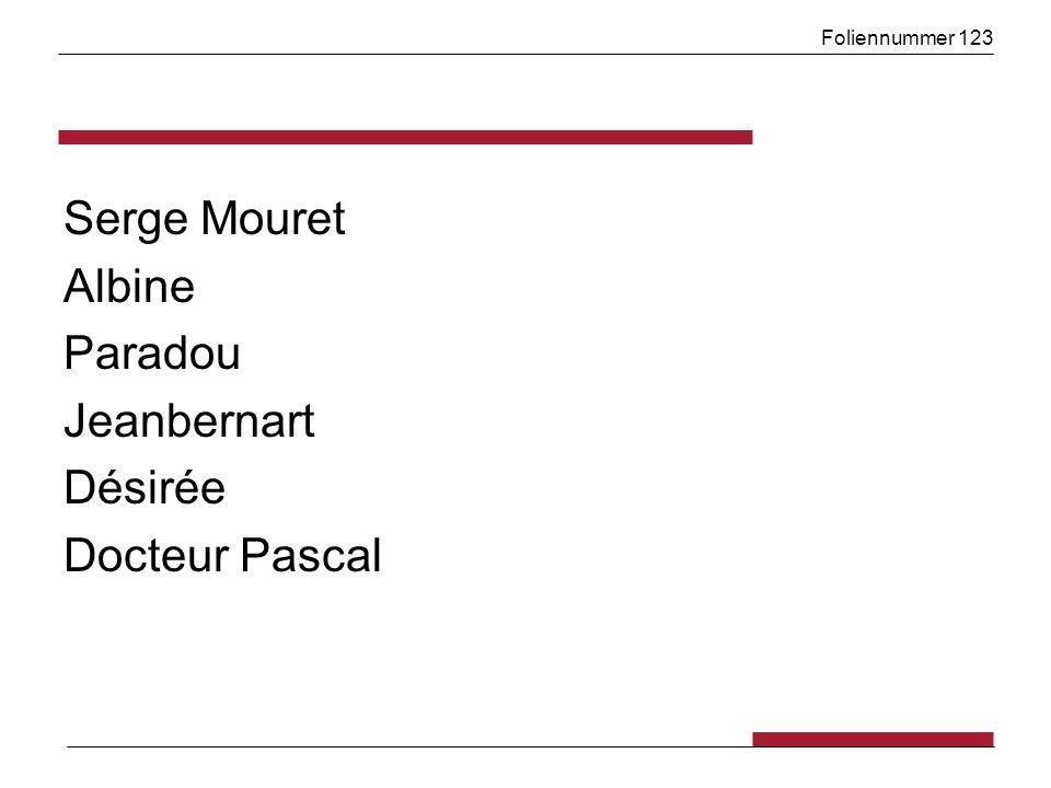 Foliennummer 123 Serge Mouret Albine Paradou Jeanbernart Désirée Docteur Pascal