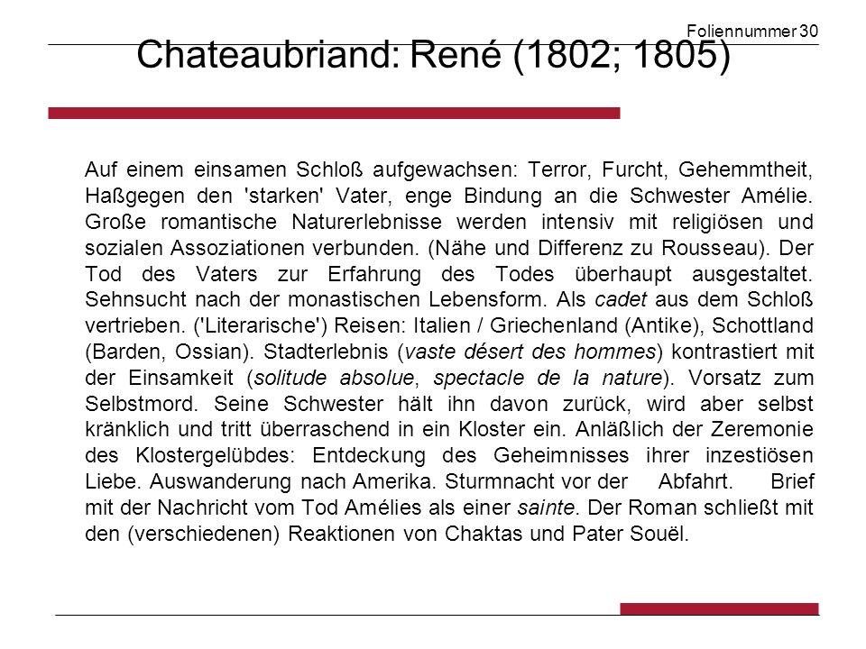 Foliennummer 30 Chateaubriand: René (1802; 1805) Auf einem einsamen Schloß aufgewachsen: Terror, Furcht, Gehemmtheit, Haßgegen den starken Vater, enge Bindung an die Schwester Amélie.