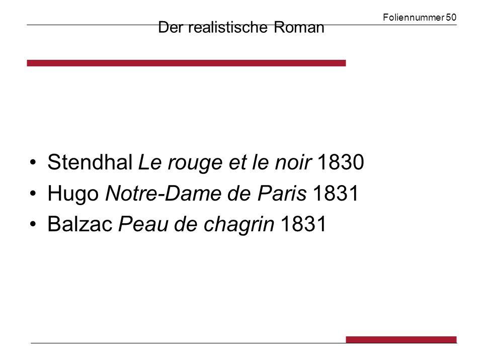 Foliennummer 50 Der realistische Roman Stendhal Le rouge et le noir 1830 Hugo Notre-Dame de Paris 1831 Balzac Peau de chagrin 1831