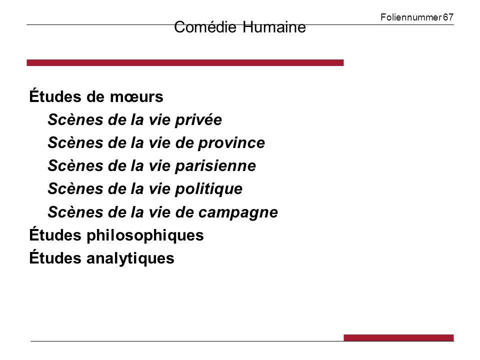 Foliennummer 67 Comédie Humaine Études de mœurs Scènes de la vie privée Scènes de la vie de province Scènes de la vie parisienne Scènes de la vie poli