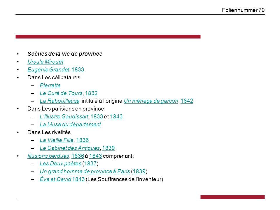 Foliennummer 70 Scènes de la vie de province Ursule Mirouët Eugénie Grandet, 1833Eugénie Grandet1833 Dans Les célibataires –PierrettePierrette –Le Cur